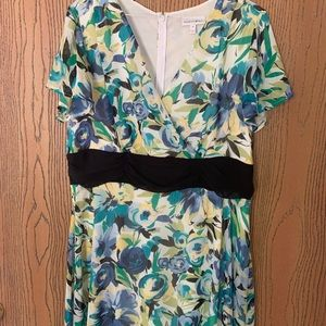 Bright floral midi dress sz 12